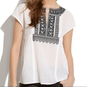 Madewell White and Black Embroidered Kabash Top